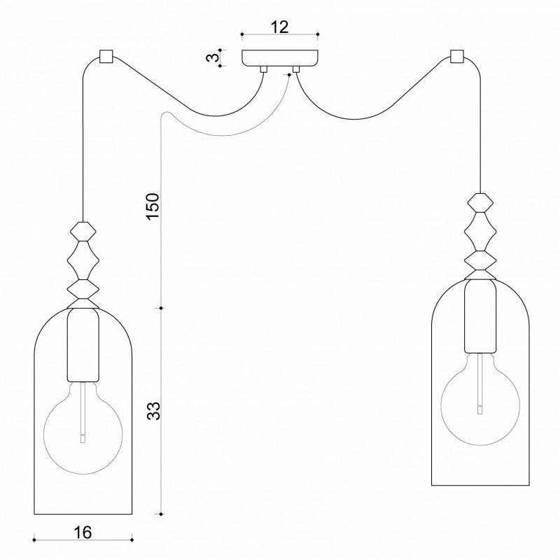 Podwójna lampa wisząca Hulub 2 z elementami drewna