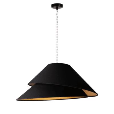designerskie-lampy-czarna-lampa-wiszaca-zlote-wnetrze-stozkowy-abazur