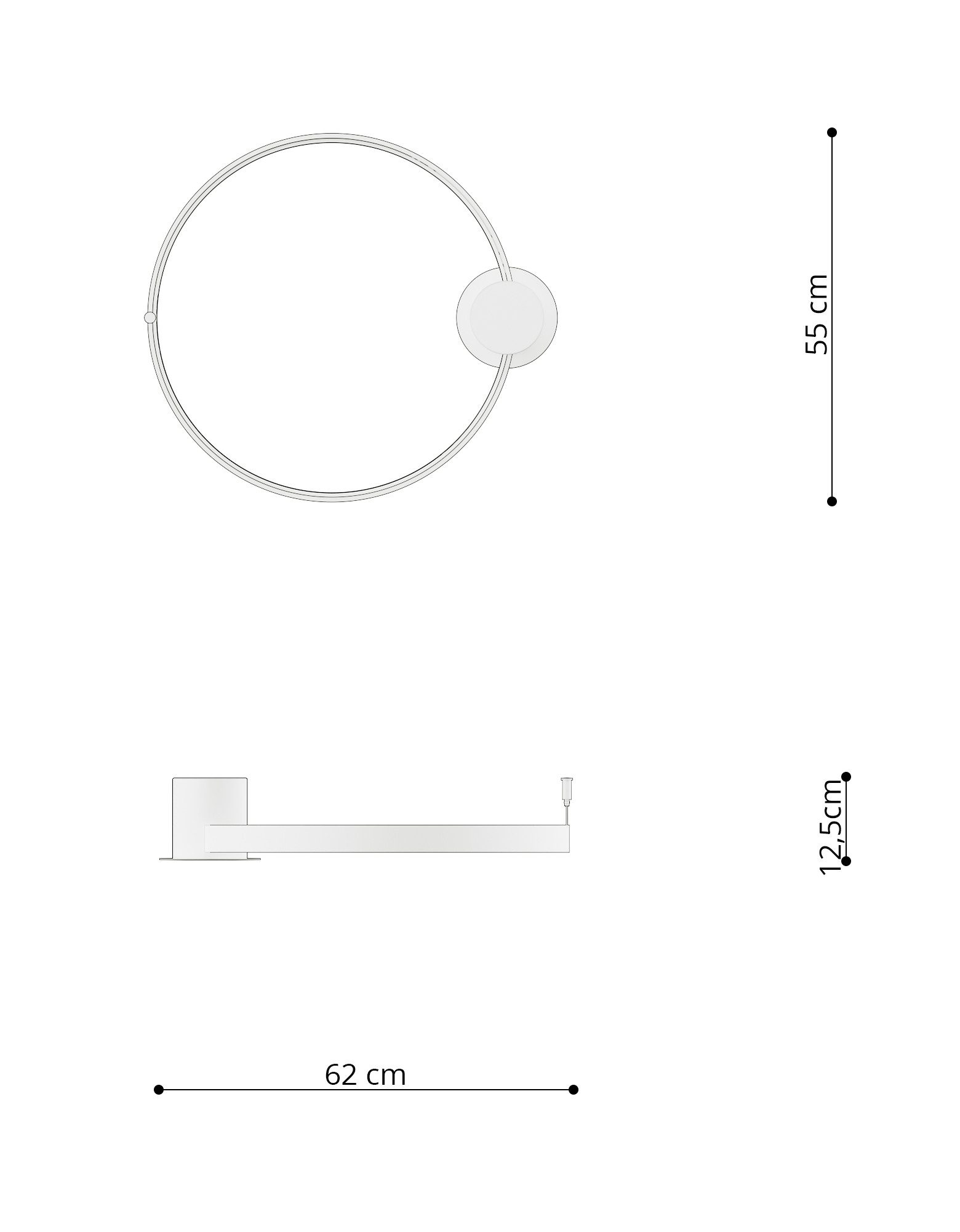 Nowoczesny plafon LED krążek RIO ⌀ 55 cm